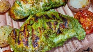 Roasted Hara Masala Chicken | No oil no butter without oven | Hara masala roasted chicken recipe |