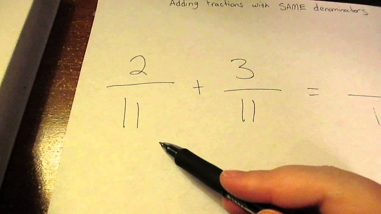 How To Add Fractions (with Same Denominator)