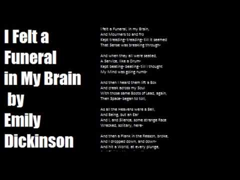 an assessment of the poem i felt a funeral in my brain by emily dickinson I felt a funeral in my brain by emily dickinson - i felt a funeral in my brain, and mourners, to and fro.