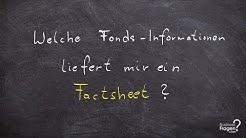 Welche Fonds - Informationen liefert mir ein Factsheet | Produktblatt?