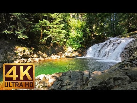 3 hours 4K Waterfall relaxation video - Denny Creek falls - Water Sounds