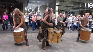 Clanadonia perform Last of the Mohicans in Perth City centre during Medieval Fayre Aug 2017 thumbnail
