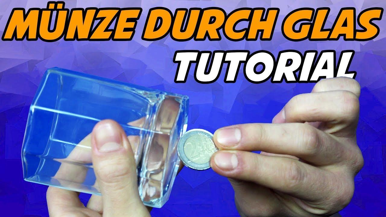 Münze Durch Glas Tutorialerklärung Münzentrick Lernen Coin
