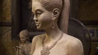 Wood Carving Exhibition Sculpture Art  Lanna Style Thailand Burmese Teak Hidef Video Stereo Sound