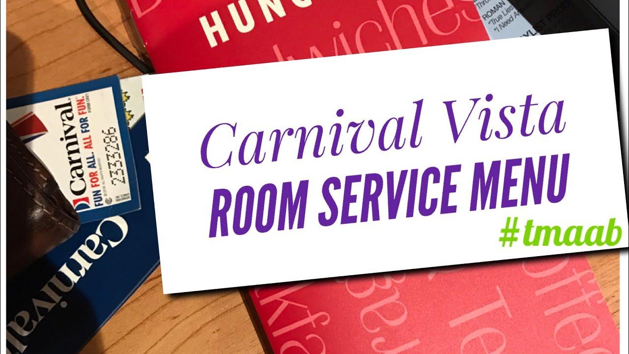 carnival vista room service menu youtube