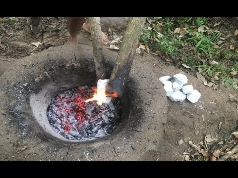 Primitive Technology: Experiment with limestone kiln (CaO)