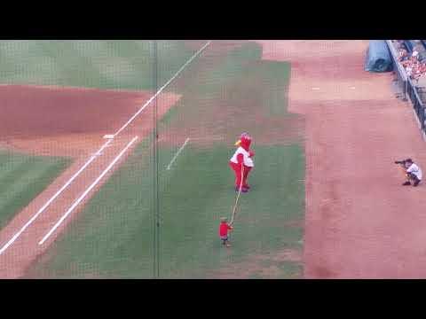 Winston Salem Dash Mascot Bolt Loses Tug Of War Match Against Little Boy