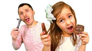 Съедобное как шоколад и настоящее челлендж от Алисы и папы