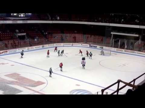 South Boston Pee Wees at Matthews Arena between periods of NU and UAH.