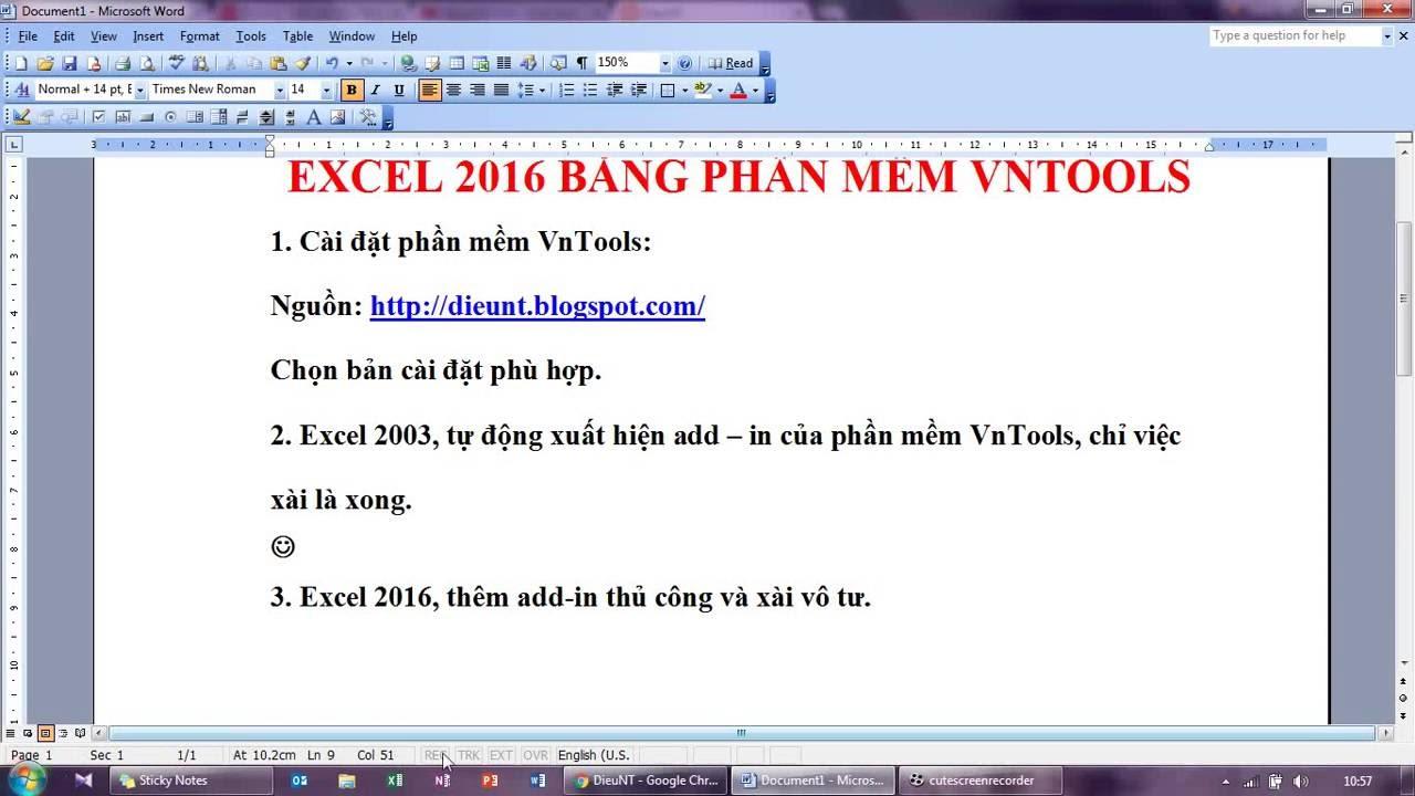 Chuyển đổi số thành chữ trong Excel 2016 bằng phần mềm VnTools