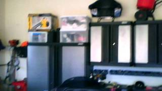Construction And Garage W/ Kobalt Cabinets, Gladiator Hangers & Harley-davidsons