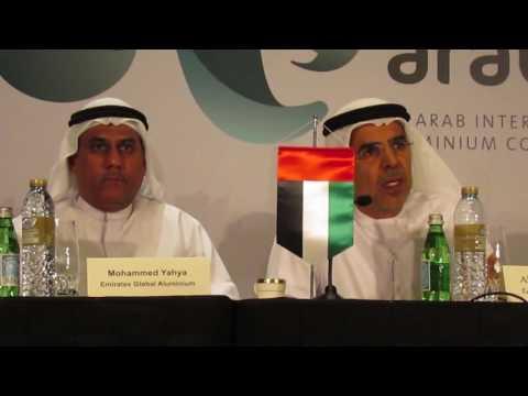 Emirates Global Aluminium officials addressing a press conference in Dubai