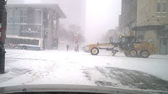 Snow storm city driving and parking Canada (Montreal)