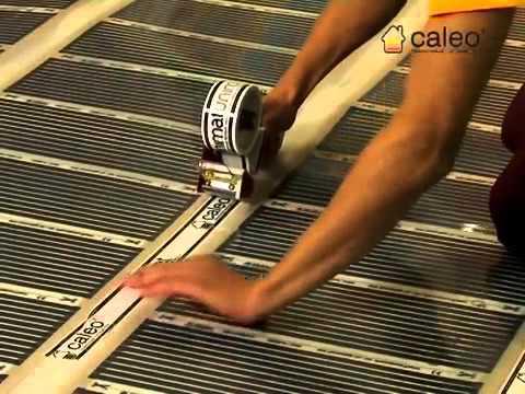 Монтаж пленочного теплого пола под ламинат своими руками - YouTube