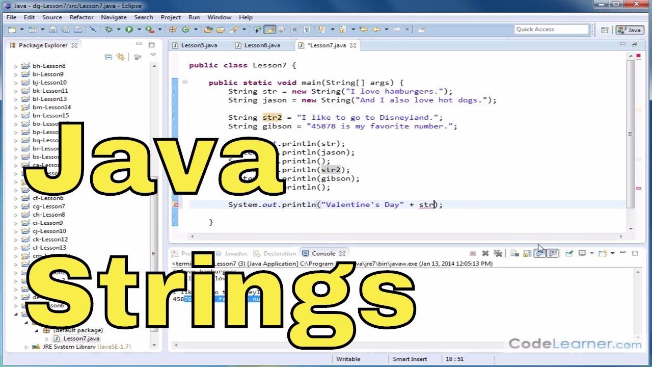 Java tutorial 07 creating and using strings in java youtube java tutorial 07 creating and using strings in java baditri Gallery