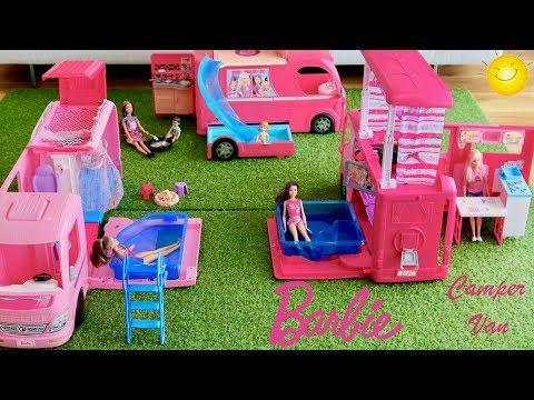 barbie-camper-van-collection!-3-barbie-campers-barbie-dolls-go-camping-pretend-play-dolls-play