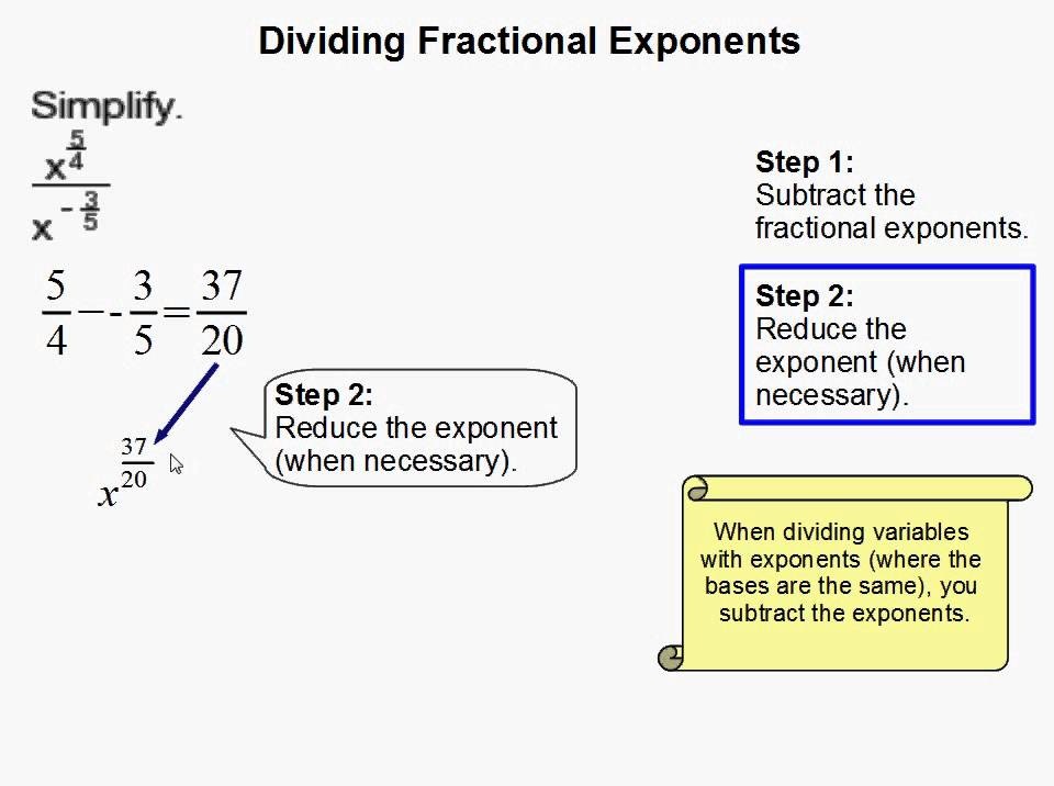 How to Divide Fractional Exponents