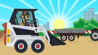 Mini Loader and Tractor with Trailer - Road construction | #Excavator stories kids | bajki Koparki