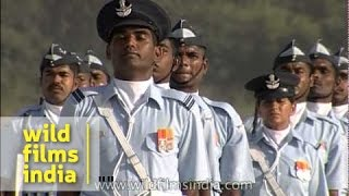 Indian Air Force soldiers stomp their boots - Hindon Air base
