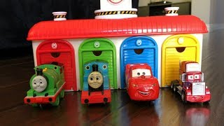 Disney Cars Toys Lightning McQueenThomas and Friends Trains in Tayo the Little Bus Garage