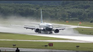 Brand NEW Boeing 737 MAX Impressive reverse thrust landing on wet runway
