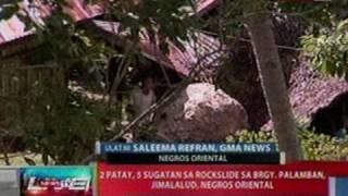 NTL:  2 patay, 5 sugatan sa rockslide sa Brgy. Palamban, Jimalaud, Negros Oriental