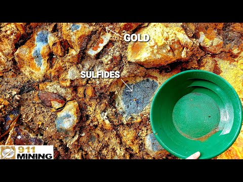 Crushing & Panning Gold From Gossan Exposures!