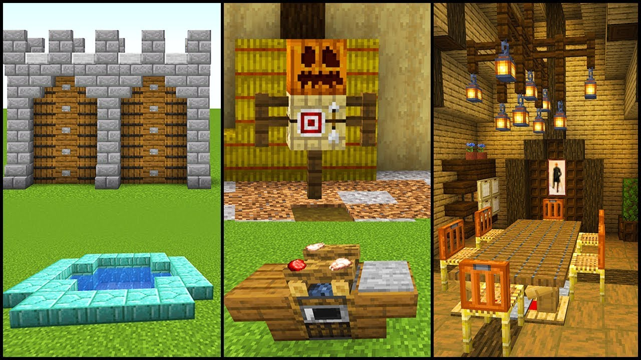 8 EASY Minecraft 8.84 Build Hacks, Ideas, and Tips (Furniture, Castle  Walls & More!)
