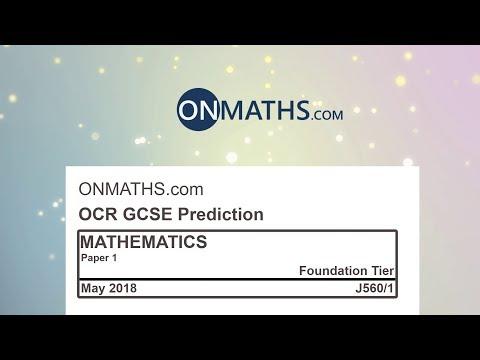2018 OCR Paper 1 Predicted Foundation Maths GCSE Calculator Exam J560/1
