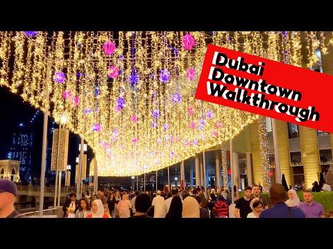 Dubai Downtown Walkthrough feat. Burj Khalifa | Dubai Dancing Fountain