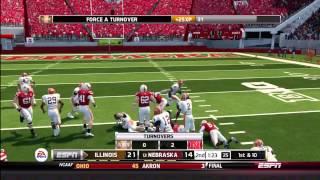 NCAA Football 14 Gameplay: Illinois Fighting Illini vs. Nebraska Cornhuskers (Xbox 360)