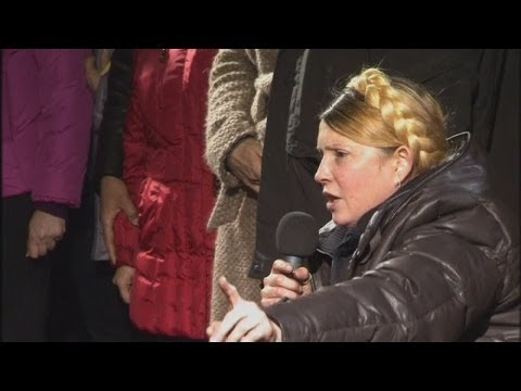 UKRAINE: Yulia Tymoshenko gets mixed reaction from speech in Independence square