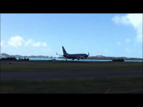 Plane Lands At Airport After Hurricane Nicole, Oct 14 2016