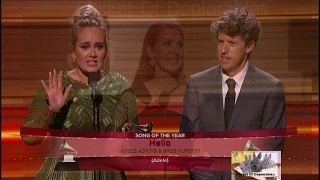 Adele Greg Kurstin Cut Off Acceptance Speech 59th Grammy Awards Hello Song Of The Year 1080 HD