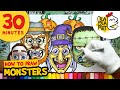 HOW TO DRAW MONSTERS episode 1 | Halloween Cartoon Drawings Compilation | BLABLA ART