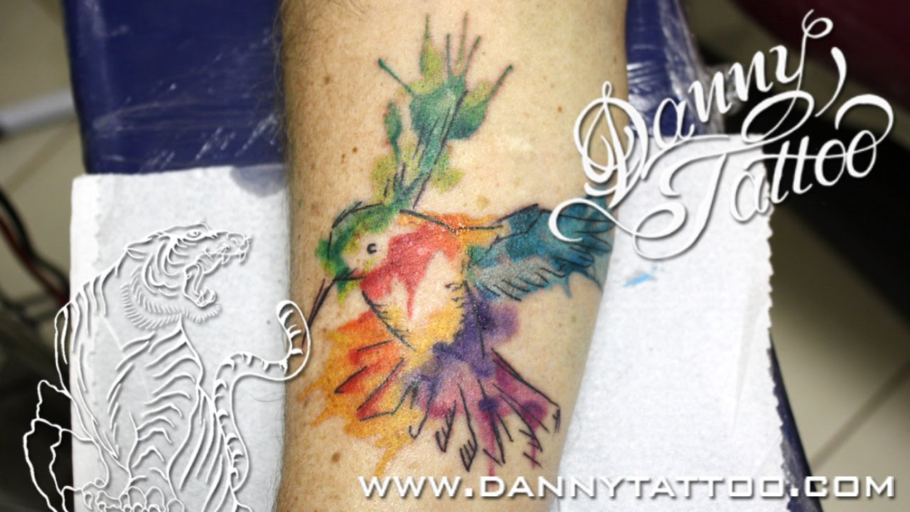 Beijaflor Aquarela Danny Tattoo Hummingbird Watercolor