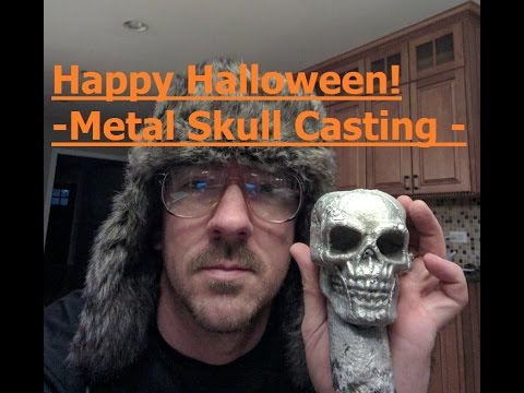 Halloween Metal Skull Casting from Aluminum Cans - lost foam technique