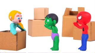 SUPERHERO BABIES PLAY WITH EMPTY BOXES ❤ SUPERHERO PLAY DOH CARTOONS FOR KIDS