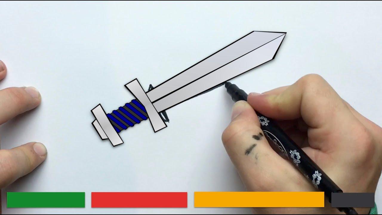Cmo dibujar una ESPADA fcilmente  YouTube