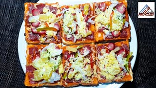 NO BAKE BREAD PIZZA COOKED IN PAN! | PINOY TASTE | SOBRANG DALI GAWIN!