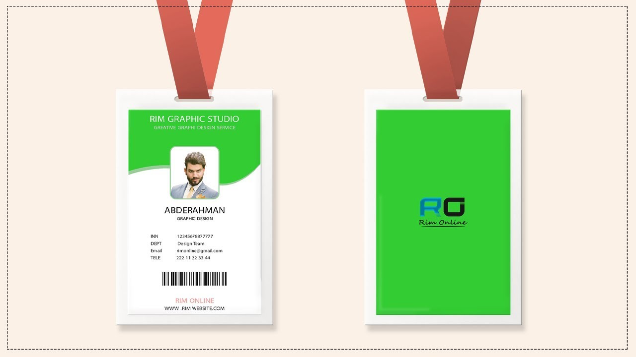 Id Badge Design Tutorial Size Of Id Card In Photoshop Youtube