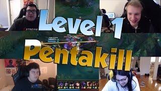 League of Legends Funny Stream Moments #29 - LEVEL 1 PENTAKILL!