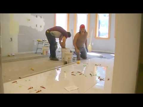 how to install a kitchen floor tile of 24x48 calacatta tile