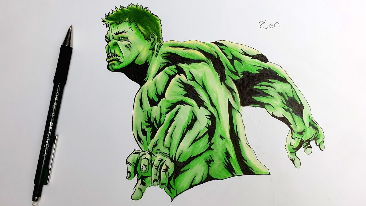 Comment Dessiner L Incroyable Hulk Speed Draw Youtube