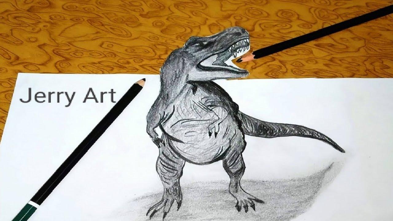 easy dinosaur pencil sktech / dinosaur drawing step by ...