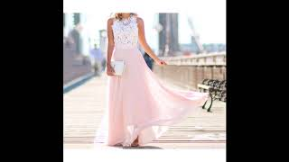 New Women Boho Style Long Maxi Dress Sexy Sleeve Pink Lace Beach Dresses Sundress Plus Size