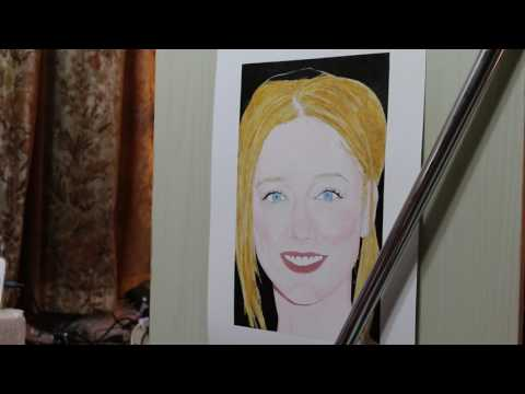 Painting of Judy Greer (work in process 7)