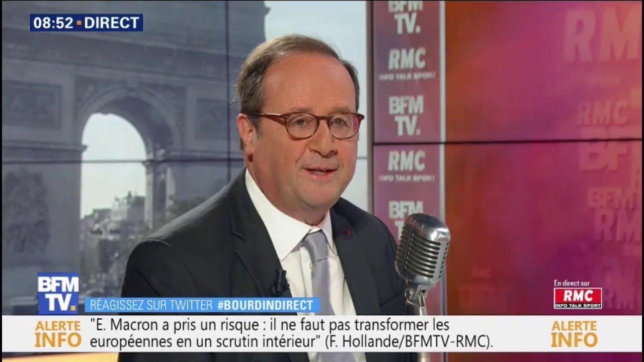 François Hollande, invité de Jean-Jacques Bourdin sur RMC et BFMTV