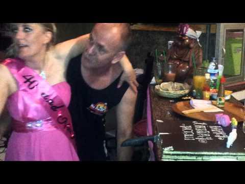 Jacqui Cutting her Birthday Cake at the Duckz Nutz Bali