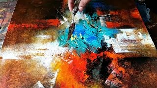 Abstract Painting / How to paint abstract in Acrylics / EASY Wash Techniques / Demonstration